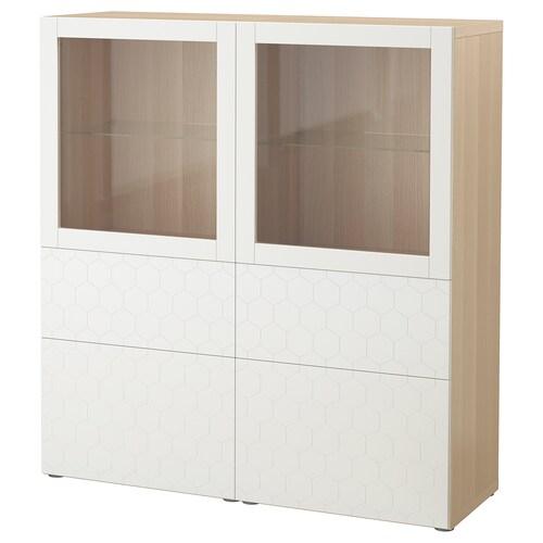 BESTÅ storage combination w glass doors white stained oak effect/Vassviken white clear glass 120 cm 40 cm 128 cm