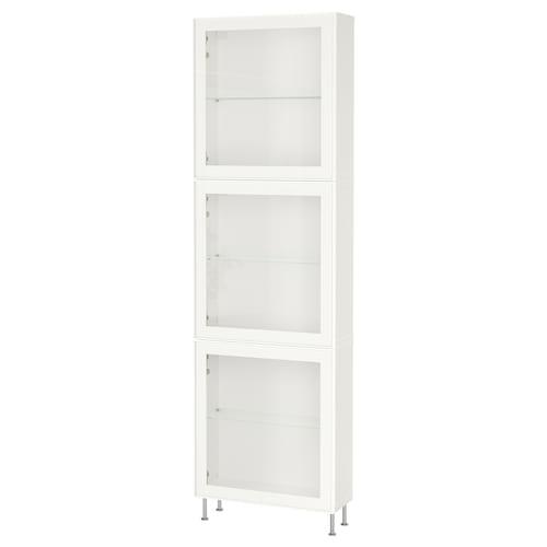 BESTÅ storage combination w glass doors white/Glassvik/Stallarp white clear glass 60 cm 22 cm 202 cm