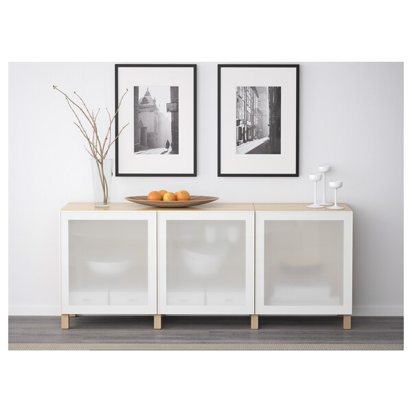 BESTÅ storage combination with doors white stained oak effect/Glassvik white frosted glass 180 cm 40 cm 74 cm