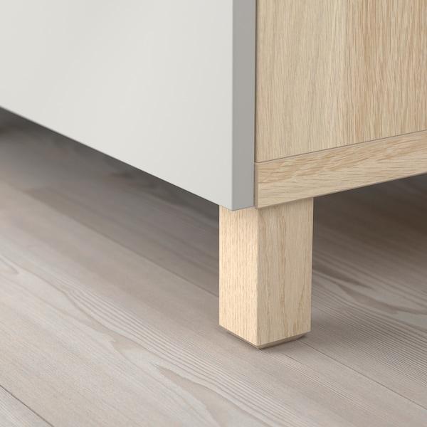 BESTÅ storage combination with doors white stained oak effect/Lappviken light grey 180 cm 40 cm 74 cm