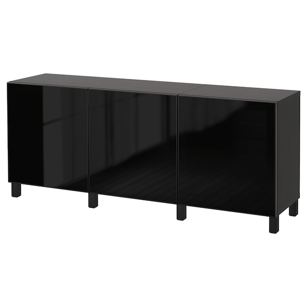 BESTÅ storage combination with doors black-brown/Glassvik black/smoked glass 180 cm 40 cm 74 cm
