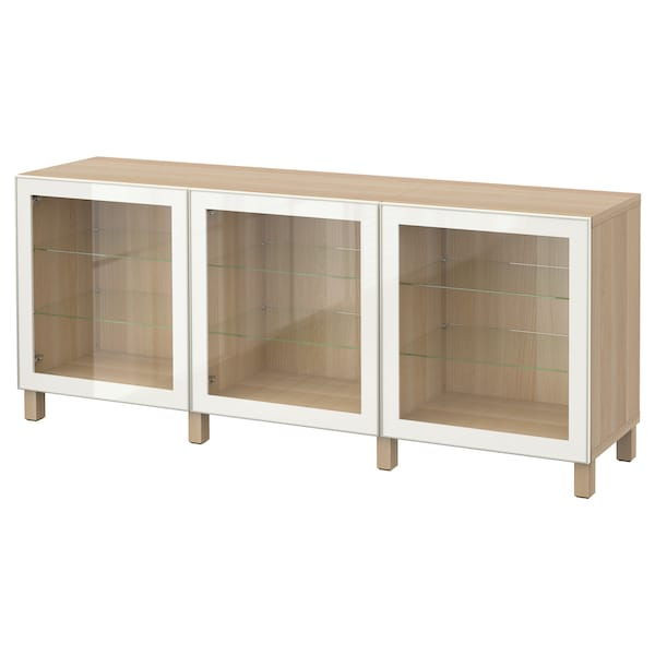 BESTÅ storage combination with doors white stained oak effect/Glassvik white clear glass 180 cm 40 cm 74 cm