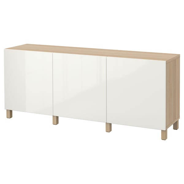 BESTÅ storage combination with doors white stained oak effect/Selsviken high-gloss/white 180 cm 40 cm 74 cm