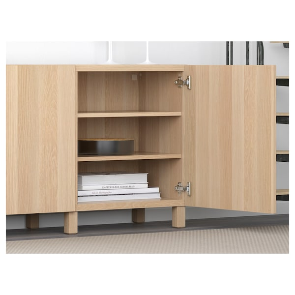 BESTÅ storage combination with doors Lappviken white stained oak effect 180 cm 40 cm 74 cm