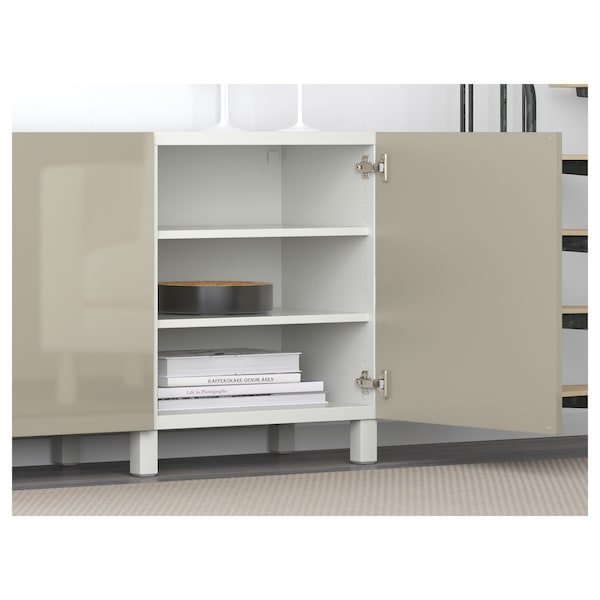 BESTÅ storage combination with doors white/Selsviken high-gloss/beige 180 cm 40 cm 74 cm
