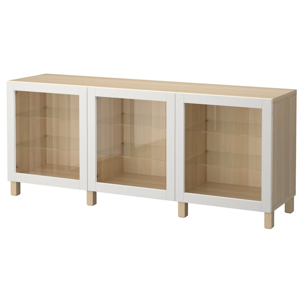 BESTÅ storage combination with doors white stained oak effect/Sindvik light grey clear glass 180 cm 40 cm 74 cm