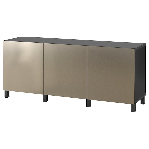 BESTÅ storage combination with doors black-brown/Riksviken/Stubbarp light bronze effect 180 cm 42 cm 74 cm