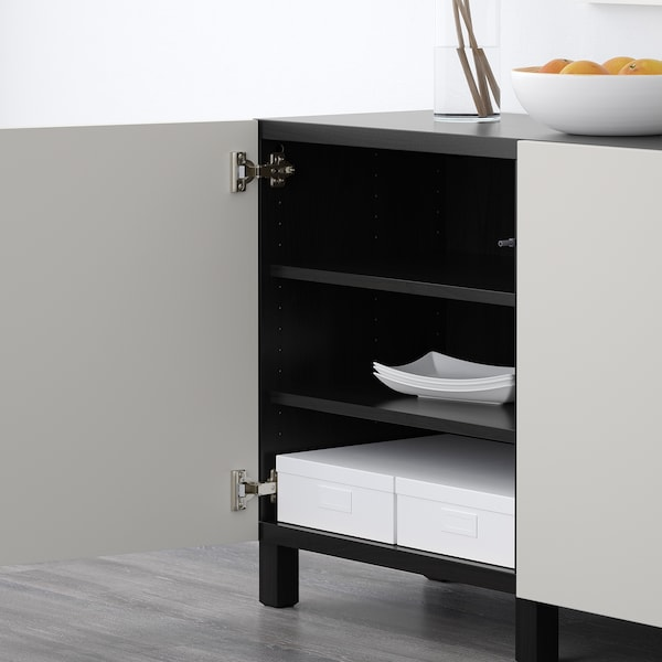 BESTÅ storage combination with doors black-brown/Lappviken light grey 180 cm 40 cm 74 cm