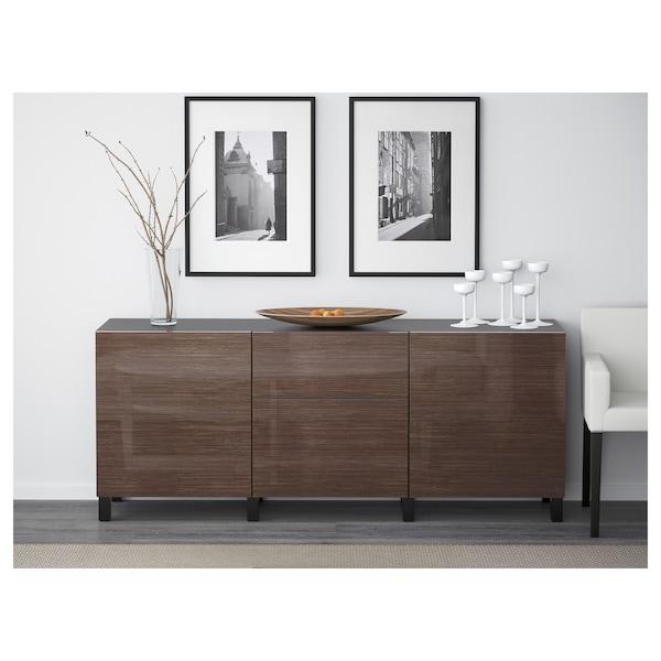 BESTÅ Storage combination with drawers, black-brown/Selsviken high-gloss/brown, 180x40x74 cm