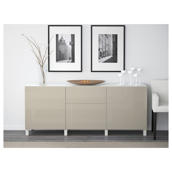BESTÅ Storage combination with drawers, white/Selsviken high-gloss/beige, 180x40x74 cm