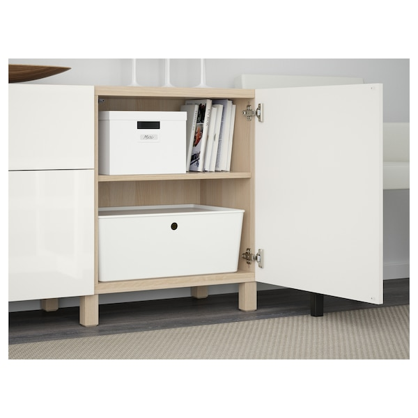 BESTÅ Storage combination with drawers, white stained oak effect/Selsviken high-gloss/white, 180x40x74 cm