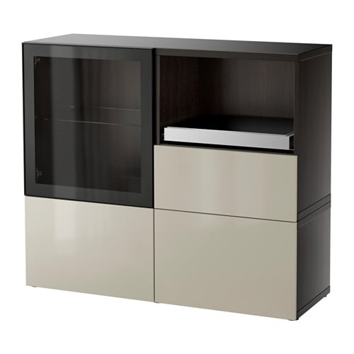 best storage combination black brown selsviken high gloss beige clear glass drawer runner. Black Bedroom Furniture Sets. Home Design Ideas