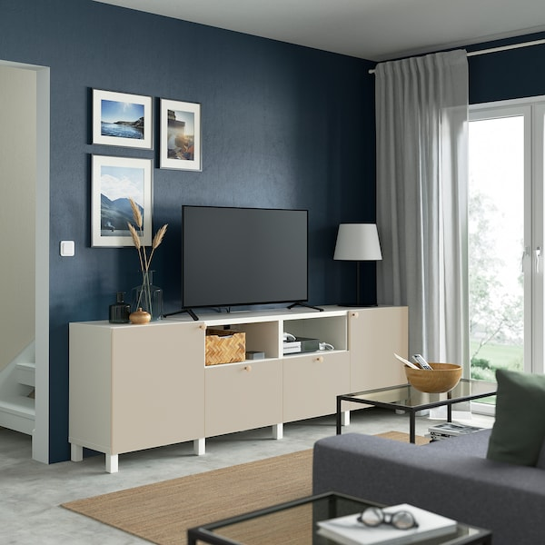 BESTÅ TV bench with doors and drawers, white/Lappviken/Stubbarp light grey/beige, 240x42x74 cm