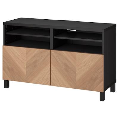 BESTÅ TV bench with doors, black-brown/Hedeviken/Stubbarp oak veneer, 120x42x74 cm