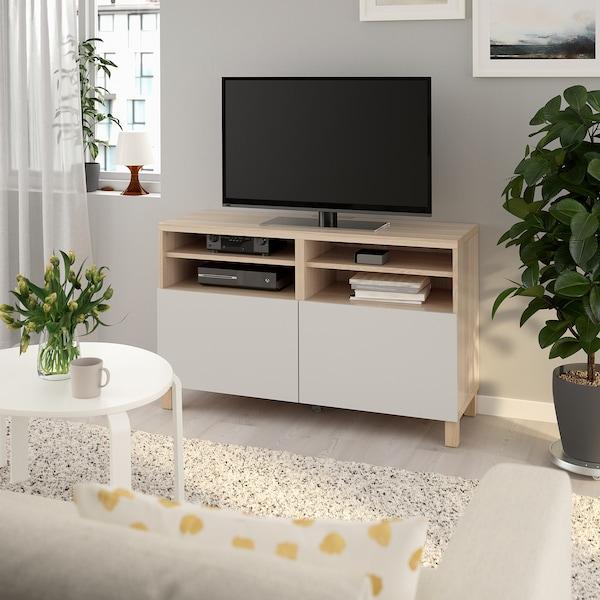 BESTÅ TV bench with doors, white stained oak effect/Lappviken/Stubbarp light grey, 120x42x74 cm