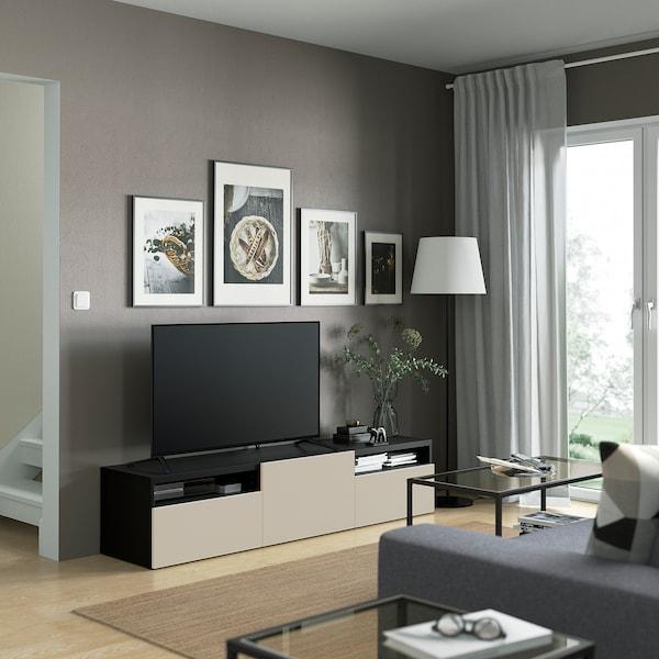 BESTÅ TV bench with drawers and door, black-brown/Lappviken light grey/beige, 180x42x39 cm