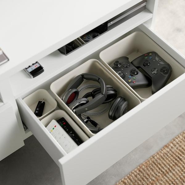 BESTÅ TV bench with drawers, white/Selsviken/Stubbarp light grey-blue, 120x42x48 cm