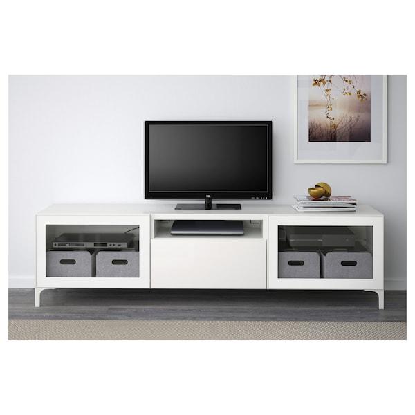BESTÅ TV bench white/Selsviken high-gloss/white clear glass 180 cm 42 cm 48 cm 50 kg