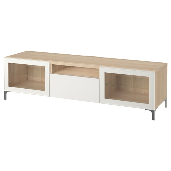 BESTÅ TV bench white stained oak effect/Selsviken high-gloss/white clear glass 180 cm 42 cm 48 cm 50 kg