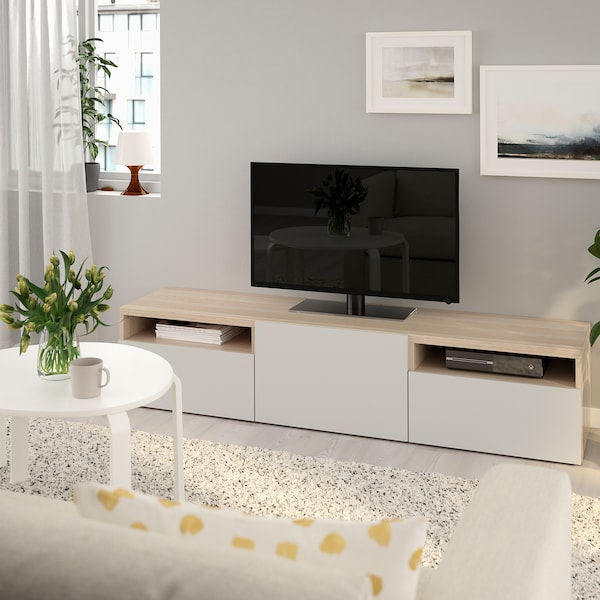 BESTÅ TV bench white stained oak effect/Lappviken light grey 180 cm 42 cm 39 cm 50 kg