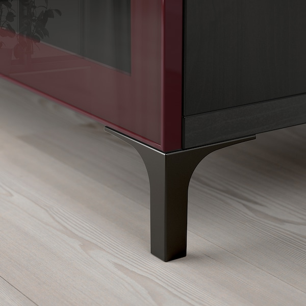 BESTÅ TV bench black-brown Selsviken/Nannarp/high-gloss dark red-brown 180 cm 42 cm 48 cm 50 kg