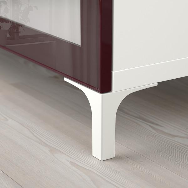 BESTÅ TV bench white Selsviken/Nannarp/high-gloss dark red-brown 180 cm 42 cm 48 cm 50 kg
