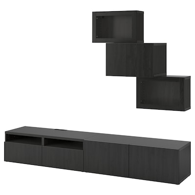 BESTÅ TV storage combination/glass doors, black-brown/Lappviken black-brown clear glass, 240x42x190 cm