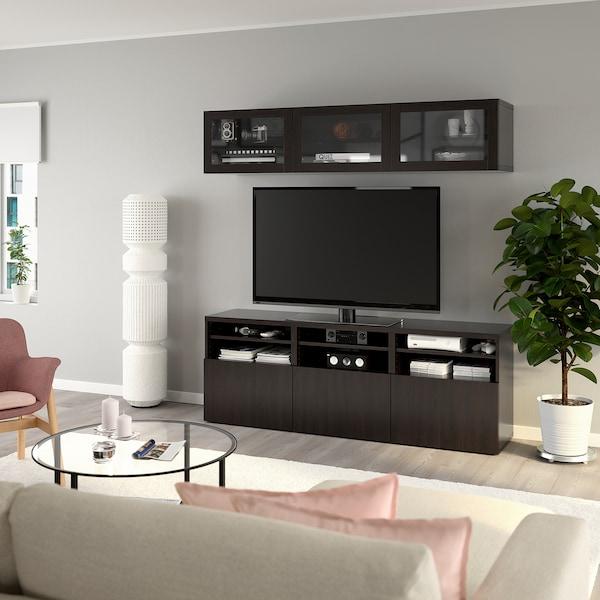 BESTÅ TV storage combination/glass doors, black-brown/Lappviken black-brown clear glass, 180x42x192 cm