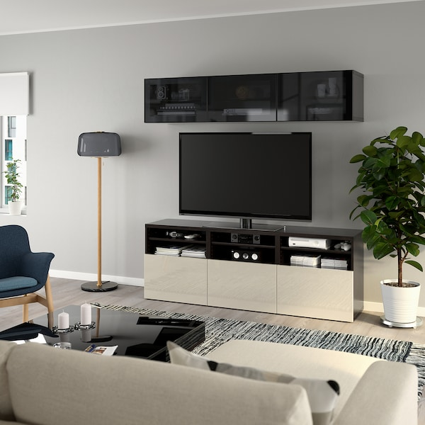 BESTÅ TV storage combination/glass doors, black-brown/Selsviken high-gloss/beige smoked glass, 180x42x192 cm