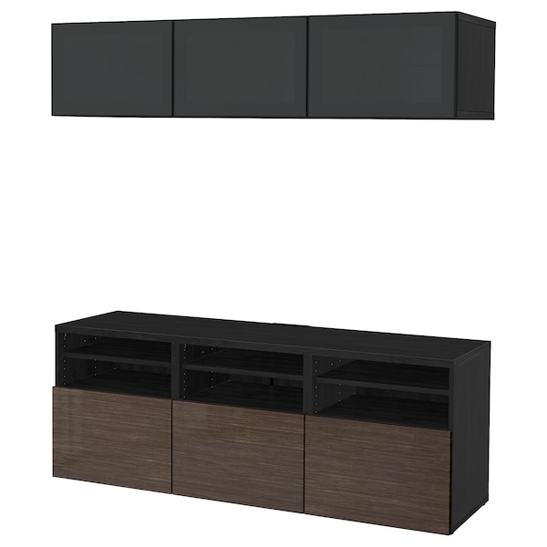 BESTÅ TV storage combination/glass doors, black-brown/Selsviken high-gloss/brown smoked glass, 180x40x192 cm