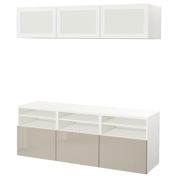 BESTÅ TV storage combination/glass doors, white/Selsviken high-gloss/beige frosted glass, 180x40x192 cm