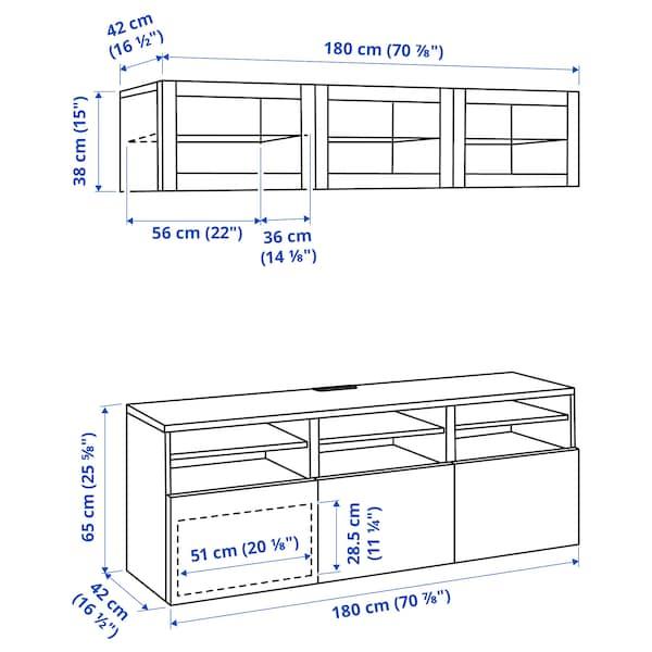 BESTÅ TV storage combination/glass doors, white stained oak effect/Lappviken white stained oak eff clear glass, 180x42x192 cm