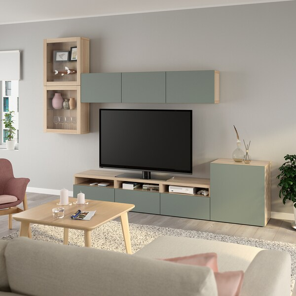 BESTÅ TV storage combination/glass doors, white stained oak effect/Notviken grey-green clear glass, 300x42x211 cm