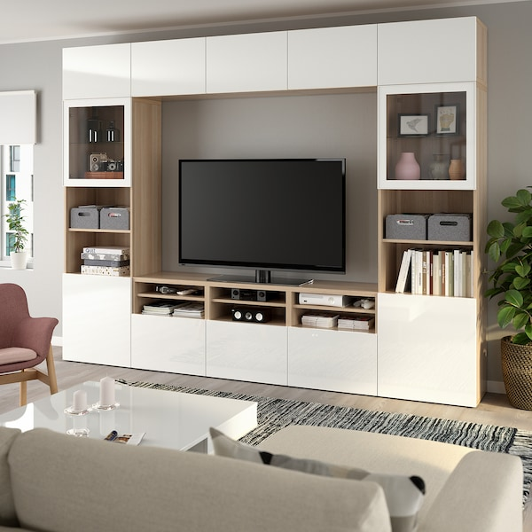 BESTÅ TV storage combination/glass doors, white stained oak effect/Selsviken high-gloss/white clear glass, 300x40x230 cm