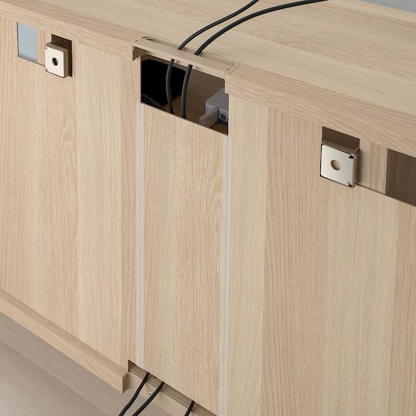 BESTÅ TV storage combination/glass doors, white stained oak effect/Selsviken high-gloss/white clear glass, 300x42x231 cm