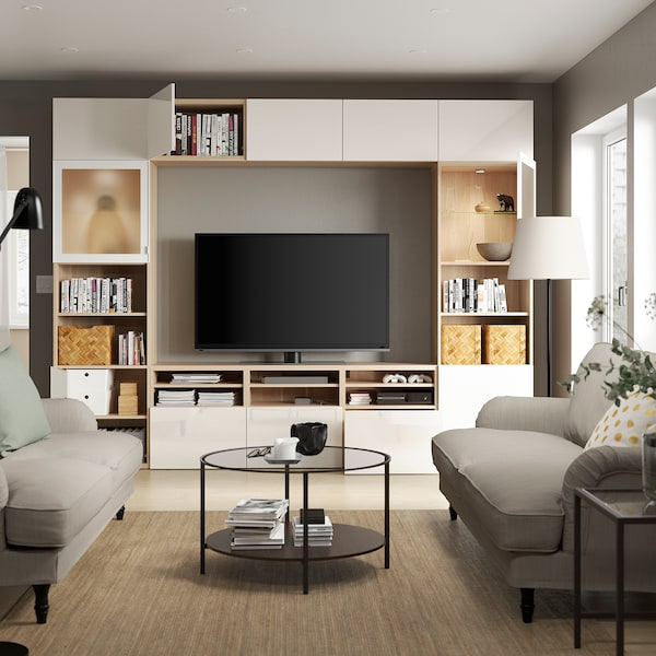 BESTÅ TV storage combination/glass doors, white stained oak effect/Selsviken high-gloss/white frosted glass, 300x42x231 cm