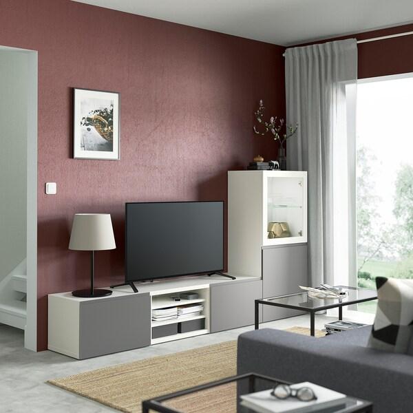 BESTÅ TV storage combination/glass doors, white/Västerviken grey, 240x42x129 cm