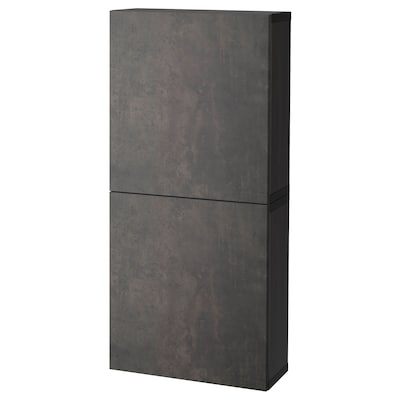 BESTÅ Wall cabinet with 2 doors, black-brown Kallviken/dark grey concrete effect, 60x22x128 cm