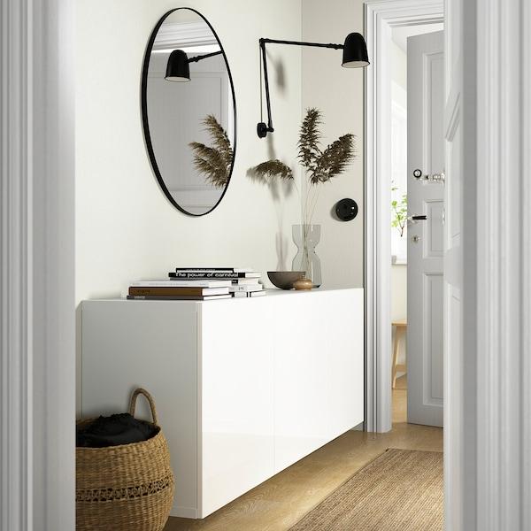 BESTÅ Wall-mounted cabinet combination, white/Selsviken high-gloss/white, 180x42x64 cm