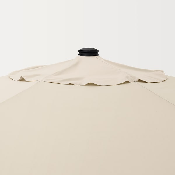 BETSÖ / LINDÖJA Parasol with base, brown wood effect beige/Grytö, 300 cm