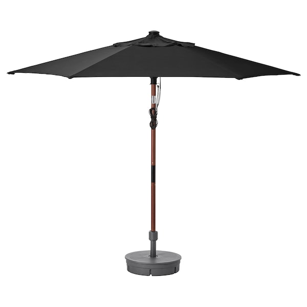 BETSÖ / LINDÖJA Parasol with base, brown wood effect black/Grytö, 300 cm