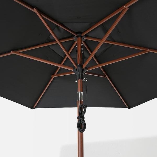 BETSÖ / LINDÖJA Parasol with base, brown wood effect black/Huvön, 300 cm