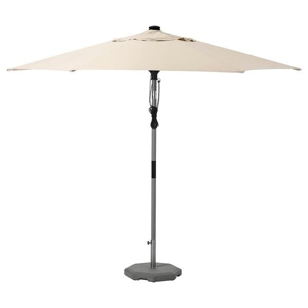 BETSÖ / LINDÖJA Parasol with base, grey wood effect beige/Huvön, 300 cm