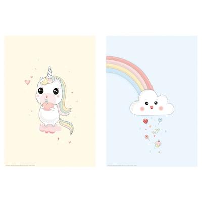 BILD Poster, Unicorn on a cloud, 21x30 cm