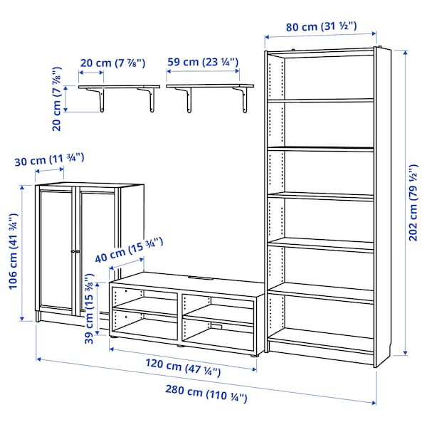 BILLY / BESTÅ TV storage combination, white, 280x40x202 cm