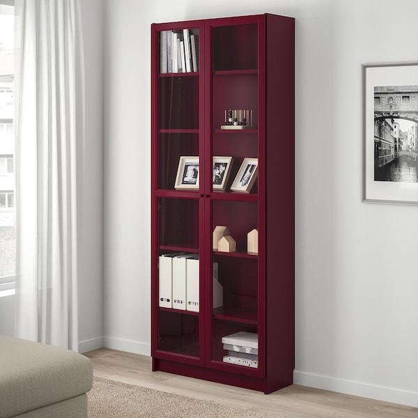 BILLY Bookcase with glass-doors, dark red, 80x30x202 cm