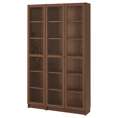 BILLY / OXBERG Bookcase with glass-doors, brown ash veneer, 120x30x202 cm