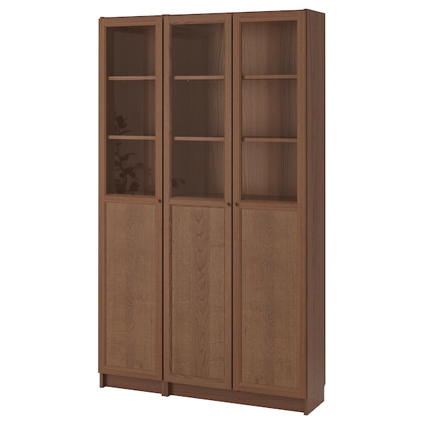 BILLY / OXBERG Bookcase with panel/glass doors, brown ash veneer/glass, 120x30x202 cm