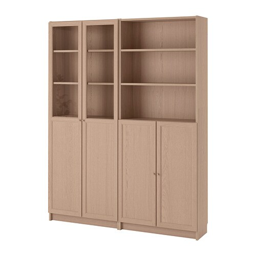 Billy Oxberg Bookcase With Panel Glass Doors White
