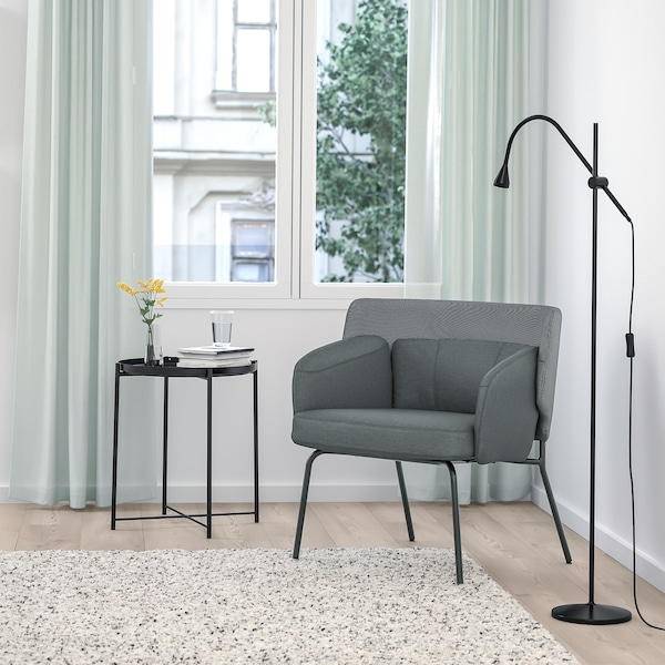 BINGSTA Armchair, Vissle dark grey/Kabusa dark grey